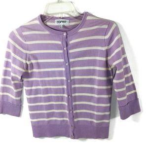 Esprit Cardigan Size XS Purple White Stripe